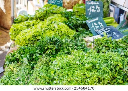 Organic fresh parsley from mediterranean farmers market. Healthy local food market. - stock photo