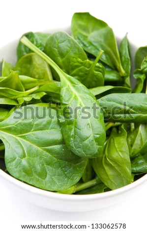 Organic fresh spinach leaves composition