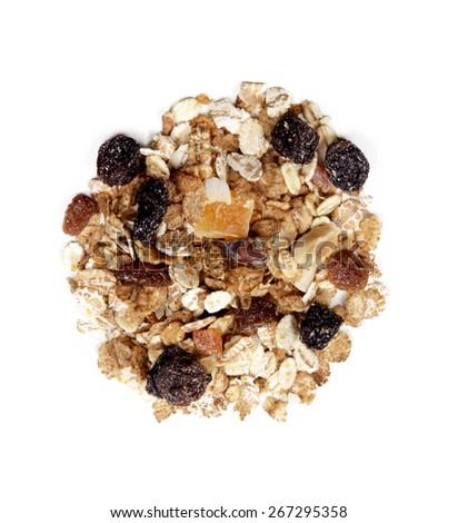 organic fruit muesli isolated on white background - stock photo