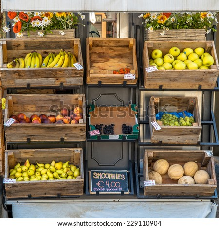 Organic Fruit on Display on a Street Market Stall - stock photo
