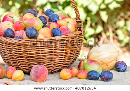 Organic fruits - fresh fruits in wicker basket - stock photo