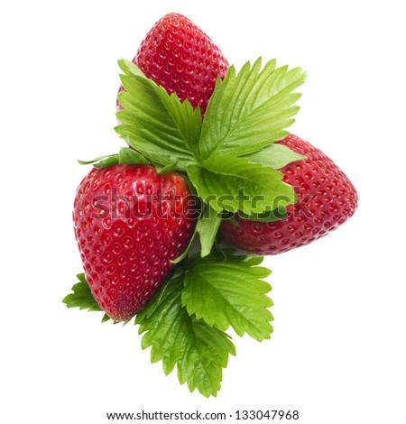Organic garden strawberry on white background - stock photo