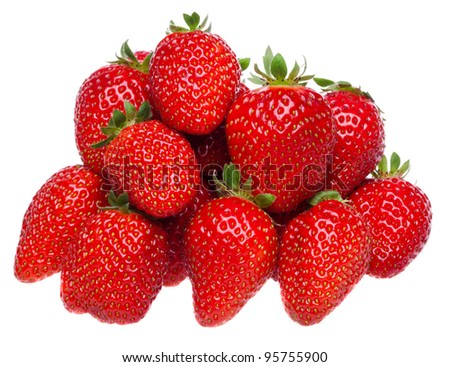 Organic garden strawberry on white background - stock photo