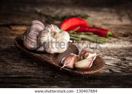 Organic garlic and hot pepper - stock photo