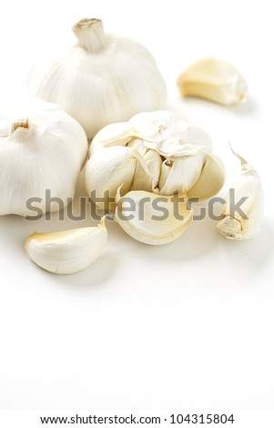 Organic garlic isolated on white