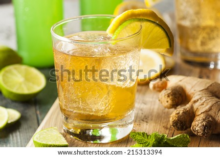 Organic Ginger Ale Soda in a Glass with Lemon and Lime - stock photo