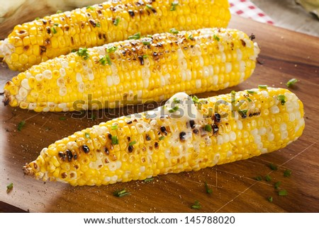 Organic Grilled Corn on the Cob Ready to Eat - stock photo