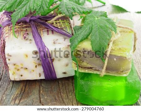 organic handmade soap - stock photo