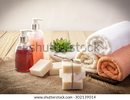 organic handmade soap wooden background closeup - stock photo