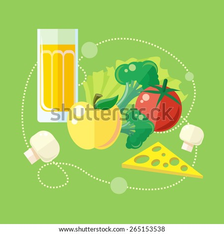 Organic health food products in flat design. Green healthy life concept icons. Raster version - stock photo