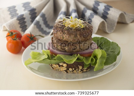 organic Health Low Carbs high Protein Burger Double with vegetable, onion, bun, tomato