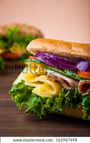 Organic, healthy food, sandwich - stock photo