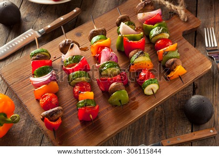 Organic Homemade Vegetable Shish Kababs with Peppers, Onions and Tomatos - stock photo