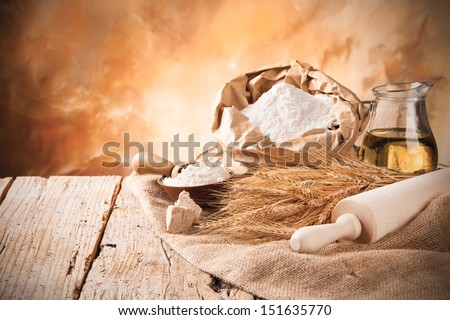 Organic ingredients for bread preparations - stock photo