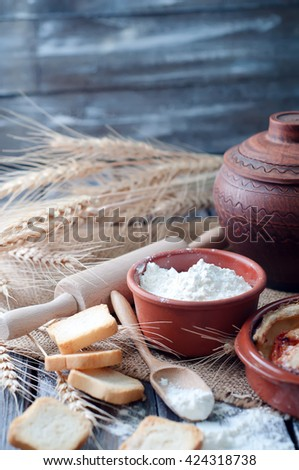 Organic ingredients for homemade bread preparation - stock photo