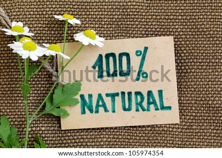 Organic label on the burlap natural   background - stock photo