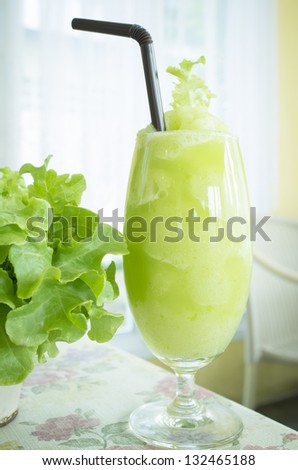 Organic lychee and mint smoothie - stock photo