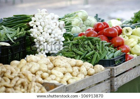 organic market - vegetables - stock photo