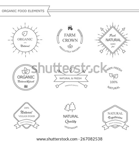 Organic  natural food and drink  labels and and badges design  in black  elements with text - Organic- 100 percent  Natural -Ecological  - stock photo