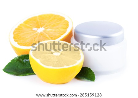Organic nutrition facial cream with vitamin C, skincare organic concept - stock photo
