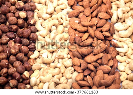 Organic nuts background on white