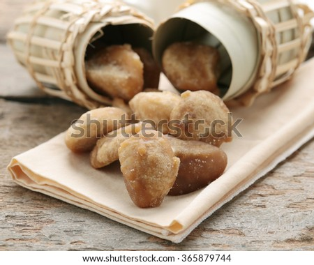 Organic palm sugar ,Sugar from palm trees. - stock photo