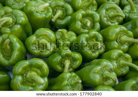 Organic peppers at the market - stock photo
