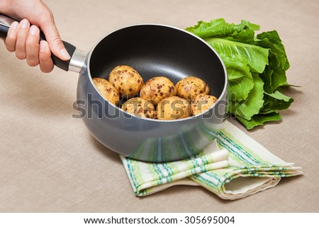 Organic potatoes in the pot on the kitchen table - stock photo
