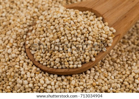 Organic Quinoa (Chenopodium quinoa) seeds in spoon - macro close up background texture