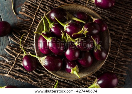 Organic Raw Baby Indian Eggplants in a Bowl - stock photo