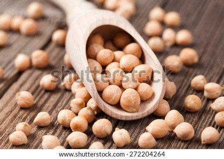 Organic raw chick peas healthy vegan nutrition super food in wooden spoon on vintage wooden background - stock photo