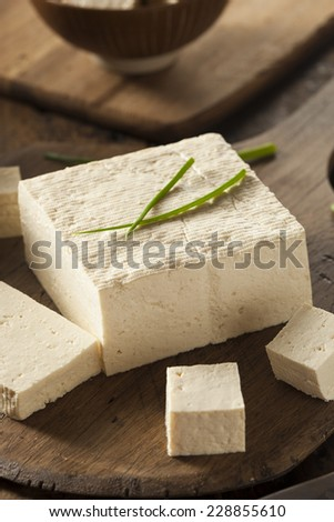Organic Raw Soy Tofu on a Background - stock photo