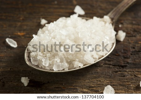 Organic Raw White Sea Salt against a background - stock photo