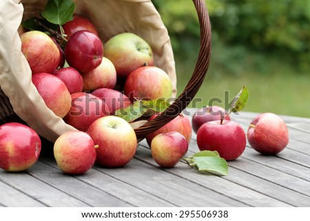 Organic red apples in a basket on the old table - stock photo