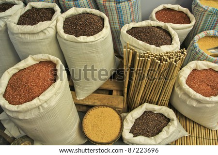 organic rice in Surin province thailand - stock photo
