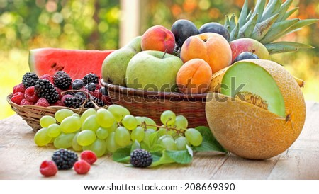 Organic seasonal fruits - stock photo