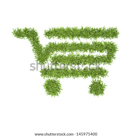 organic shopping cart, eco symbol concept - stock photo