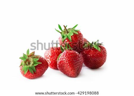 organic strawberry isolated on white background - stock photo
