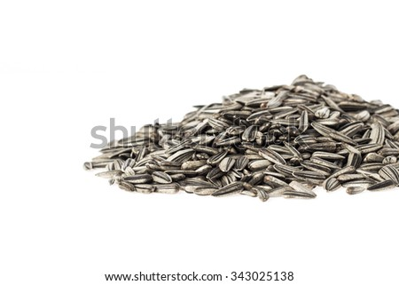 organic sunflower seed on white background.