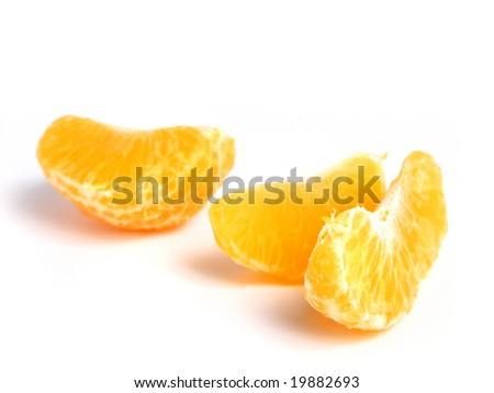 Organic Tangerine sectioned, on white background - stock photo