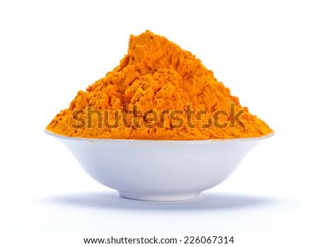 Organic turmeric powder - stock photo