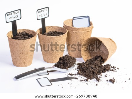 organic vases and dirt on white background