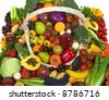 Organic vegetables and fruits - stock photo