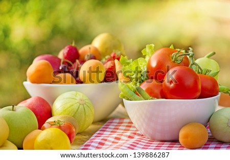 Organic vegetables and fruits - fresh food