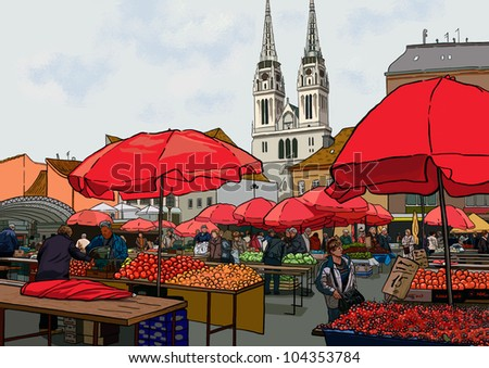 Organic vegetables at farmers market. Woman shopping at the farmers market. Man shopping at the farmers market. Outdoor farmers market with buyers, stalls, umbrellas and cathedral on the background. - stock photo