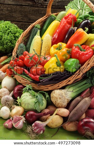 Organic vegetables basket / abundance of vegetables