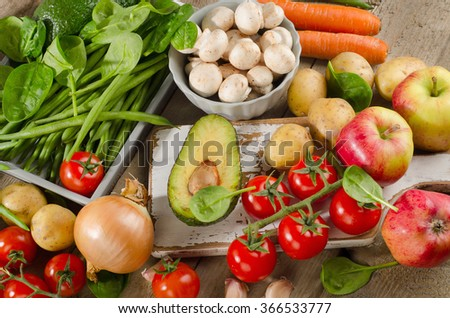 Organic vegetables. Healthy food concept. View from above