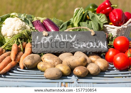 Organic vegetables on a stand at a farmers market with a sign reading locally grown - stock photo
