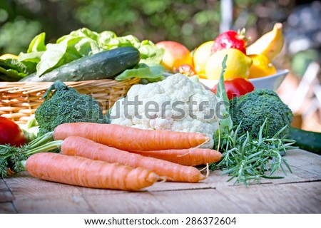 Organic vegetables on table  - stock photo