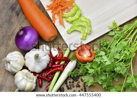 Organic Vegetables on wooden background